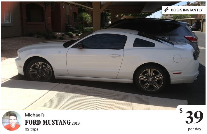 Example of a Turo Car Listing