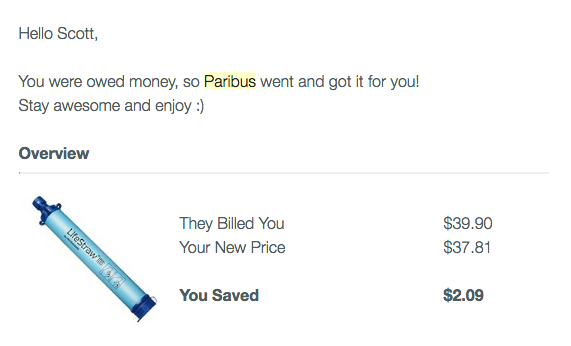 Paribus savings example